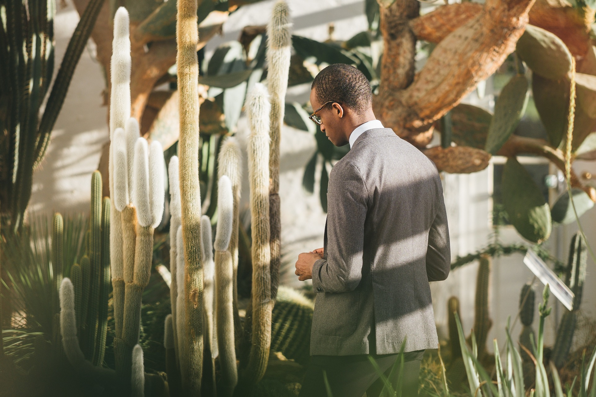 Man standing in front of plants